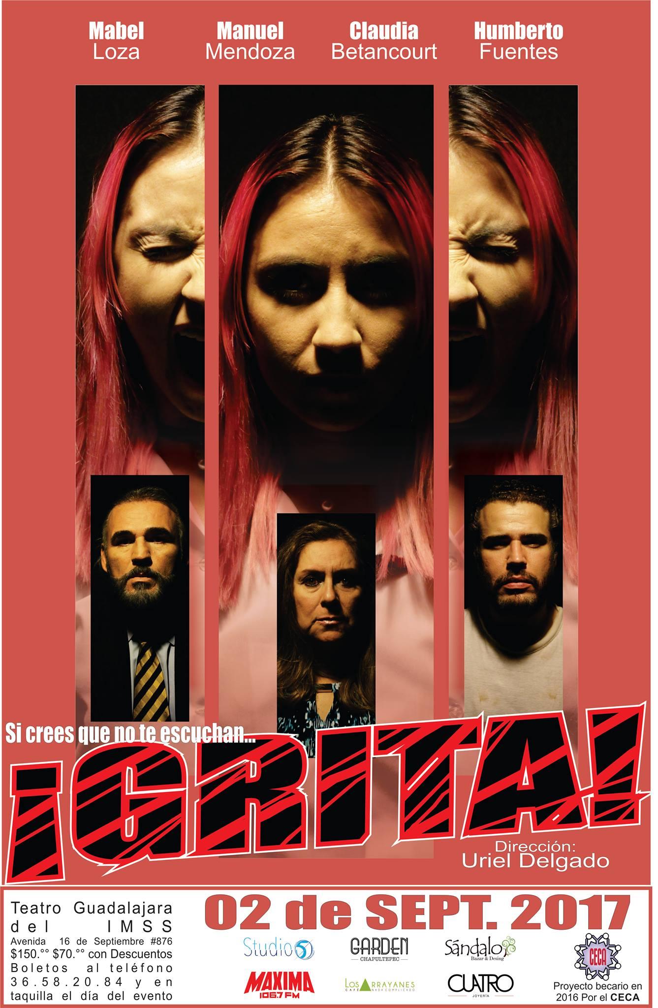 """#Estreno """"¡Grita!"""" de Uriel Delgado, 2 de Septiembre en Teatro Guadalajara del IMSS"""