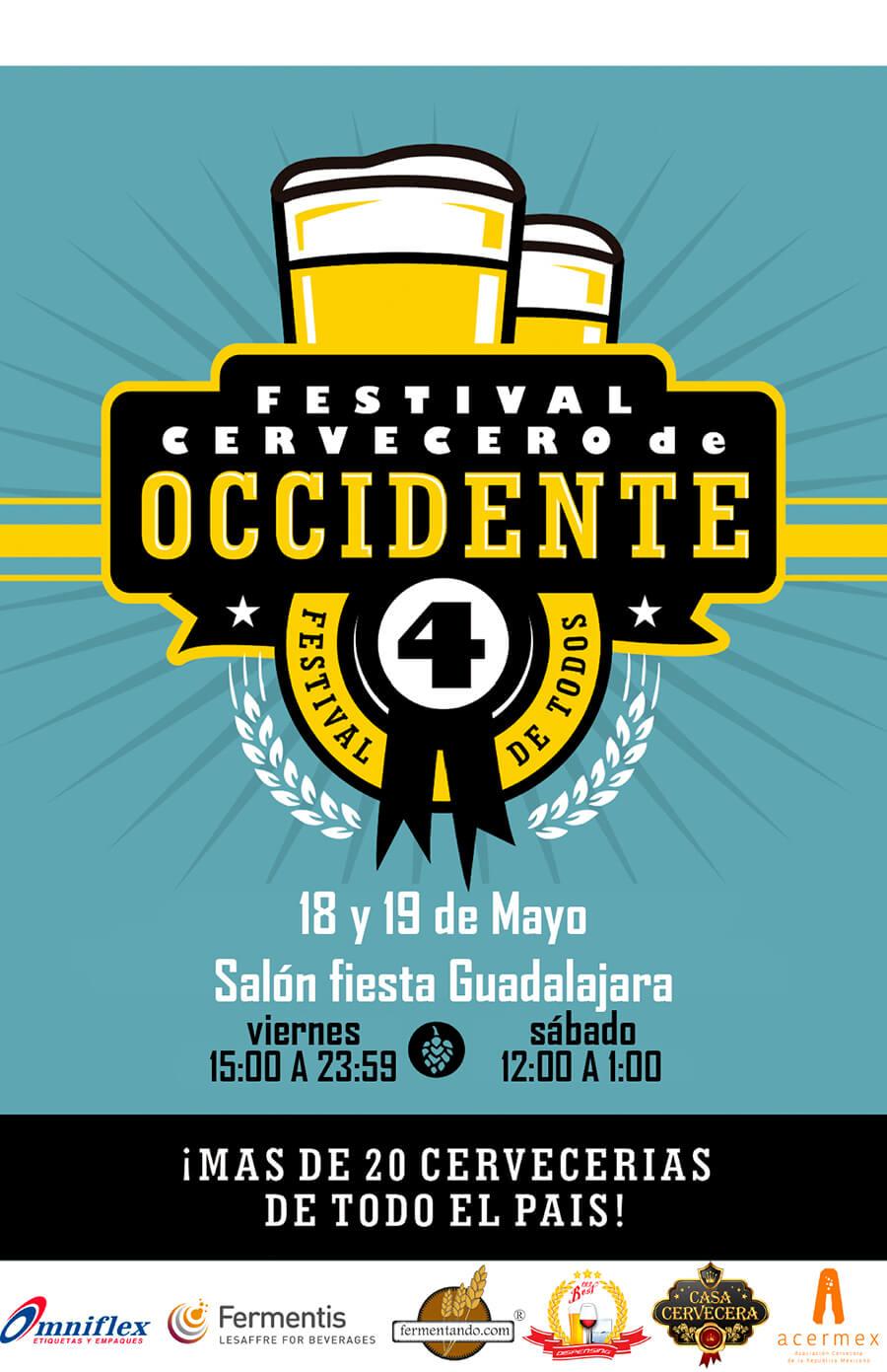 Festival Cervecero de Occidente - 18 y 19 de Mayo en Salón Fiesta Guadalajara