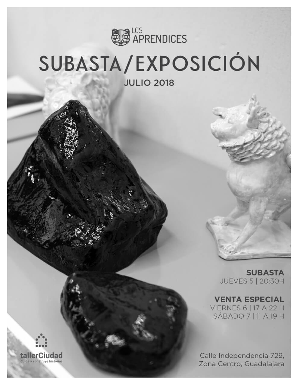 Los Aprendices Subasta / Exposición, 5, 6 y 7 de Julio en Taller Ciudad