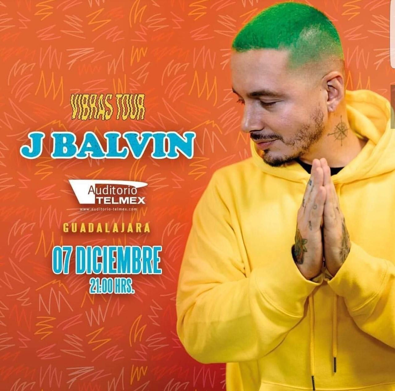 J Balvin #VibrasTour, 7 de Diciembre en Auditorio Telmex