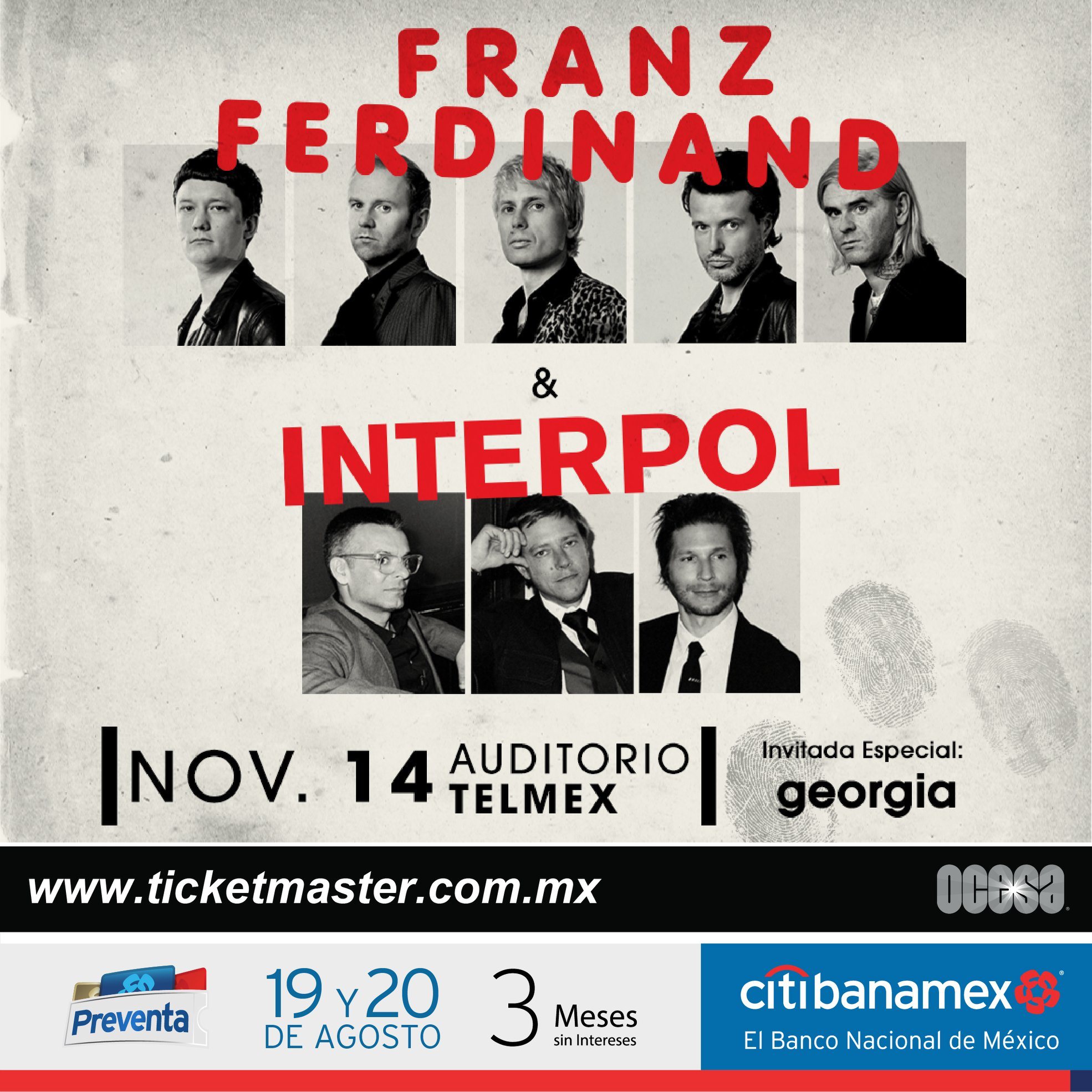 Interpol & Franz Ferdinand, 14 de Noviembre en Auditorio Telmex