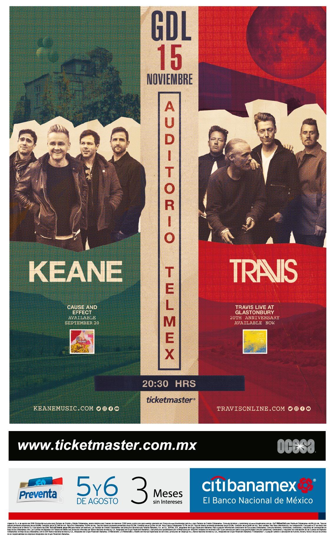 Keane & Travis, 15 Noviembre en Auditorio Telmex