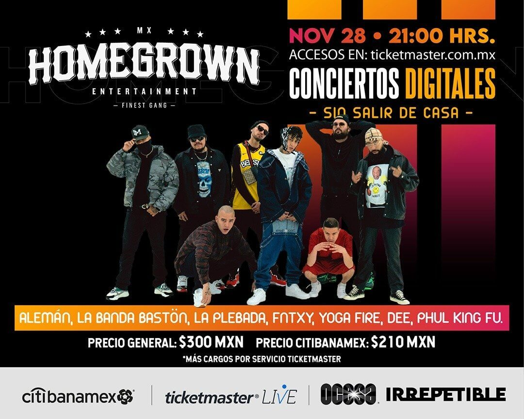 Homegrown Mafia IRREPETIBLE, 28 de noviembre por Ticketmaster Live