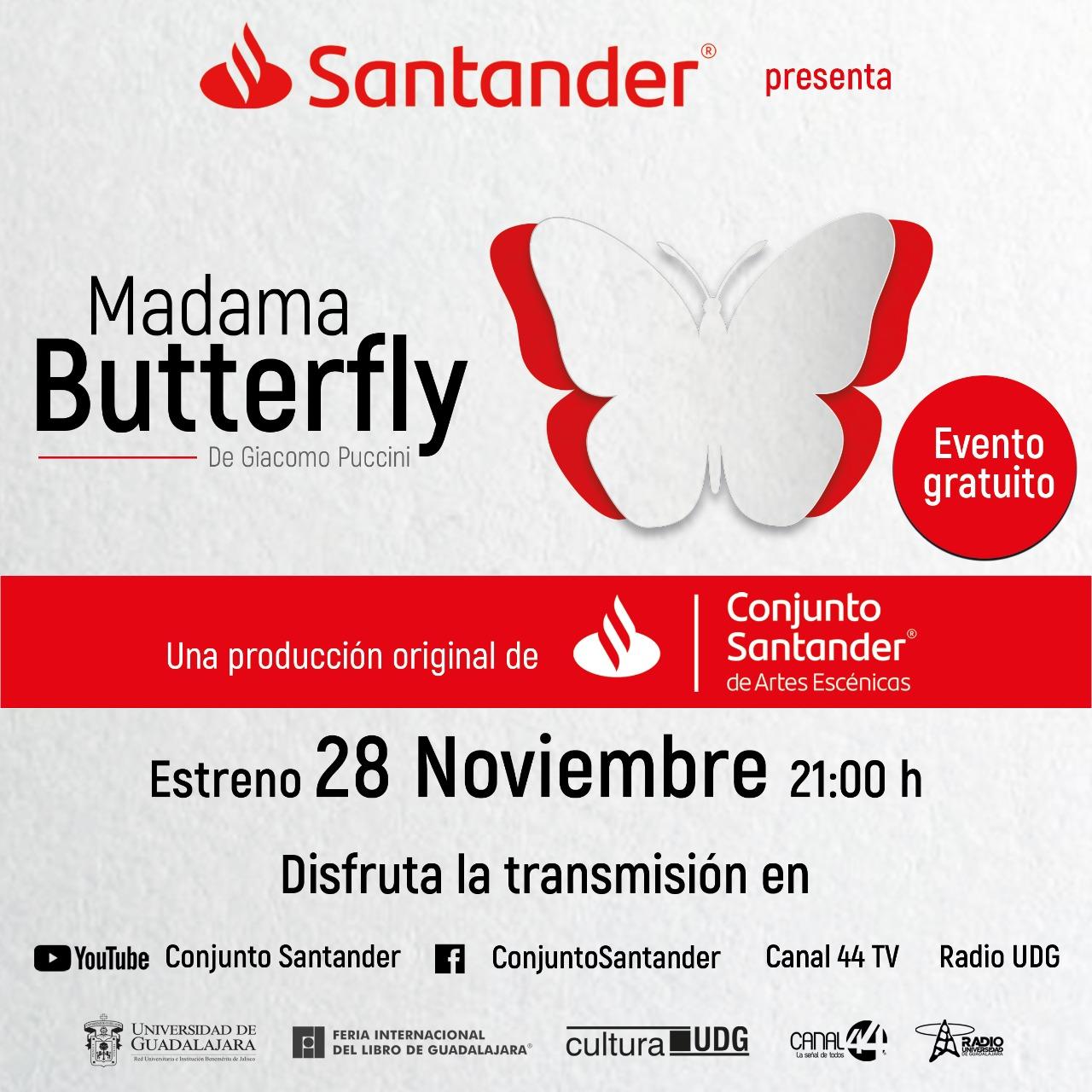Madama Butterfly - 28 de noviembre en el canal de Youtube de Conjunto Santander
