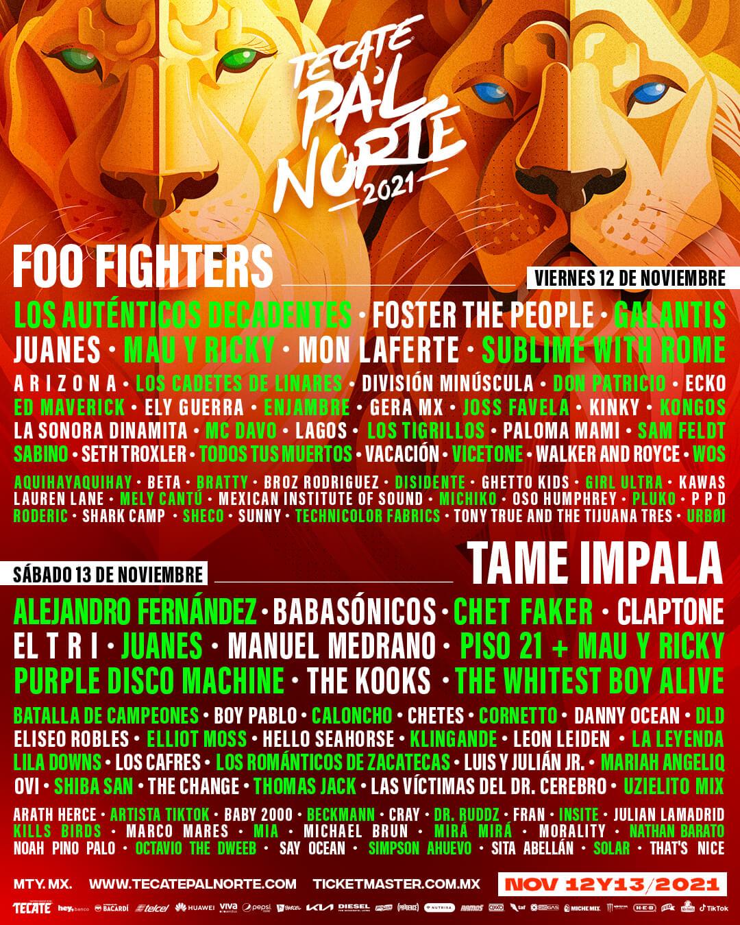 Tecate Pa'l Norte 2021 - 12 y 13 de noviembre en Monterrey, Nuevo Léon